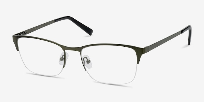 Time Green Metal Eyeglass Frames from EyeBuyDirect, Angle View