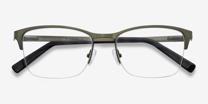 Time Green Metal Eyeglass Frames from EyeBuyDirect, Closed View