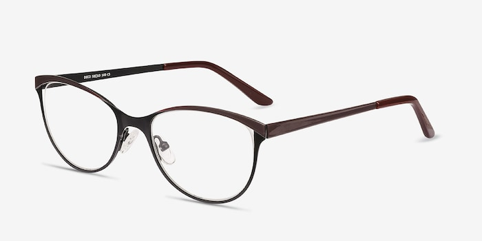 Deco Black Red Metal Eyeglass Frames from EyeBuyDirect, Angle View