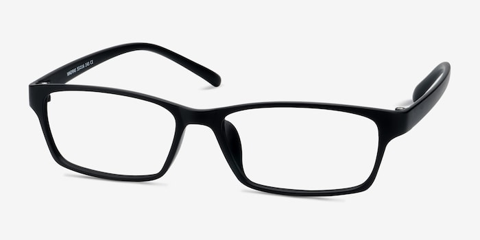 Madras Black Plastic Eyeglass Frames from EyeBuyDirect, Angle View