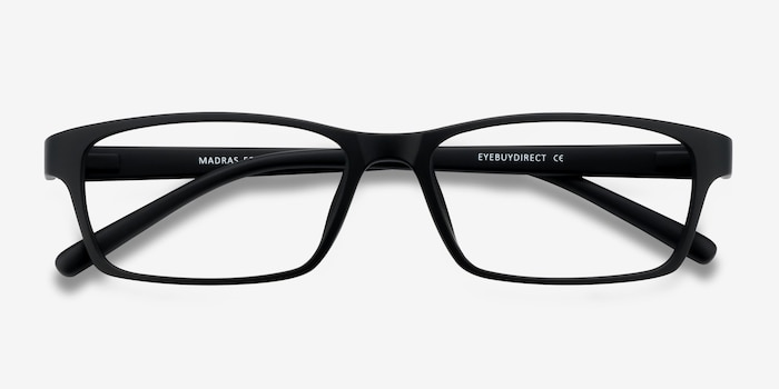 Madras Black Plastic Eyeglass Frames from EyeBuyDirect, Closed View