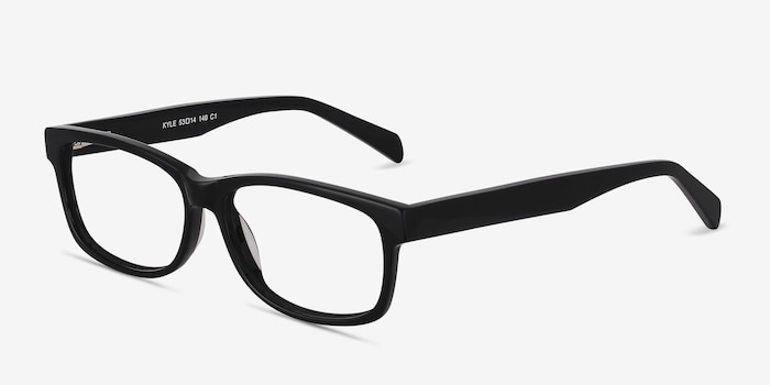 Kyle Black Acetate Eyeglass Frames from EyeBuyDirect, Angle View