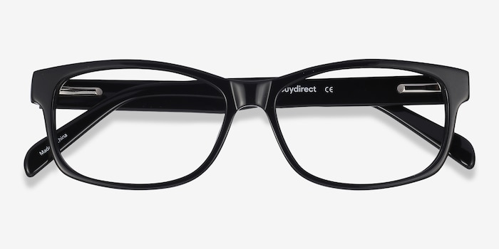 Kyle Black Acetate Eyeglass Frames from EyeBuyDirect, Closed View