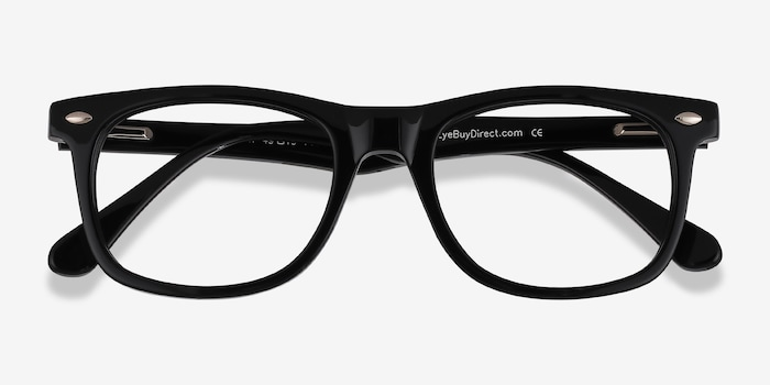 Sam Black Acetate Eyeglass Frames from EyeBuyDirect, Closed View