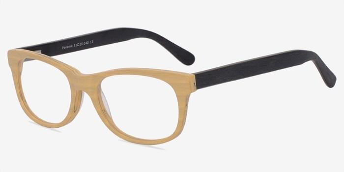 Panama Wood Wood-texture Eyeglass Frames from EyeBuyDirect, Angle View