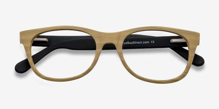 Panama Wood Wood-texture Eyeglass Frames from EyeBuyDirect, Closed View