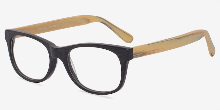 Panama Black Wood-texture Eyeglass Frames from EyeBuyDirect, Angle View