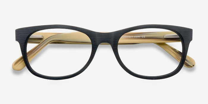 Panama Black Wood-texture Eyeglass Frames from EyeBuyDirect, Closed View