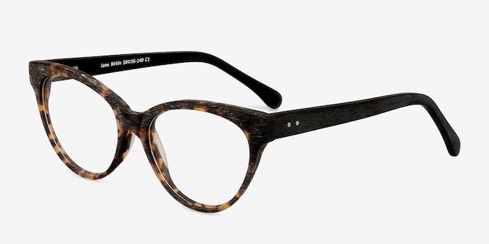 Jane Birkin Brown/Tortoise Acetate Eyeglass Frames from EyeBuyDirect, Angle View
