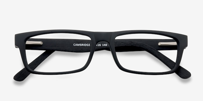 Cambridge Black Wood-texture Eyeglass Frames from EyeBuyDirect, Closed View