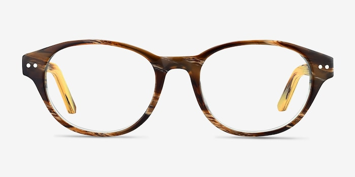 Cape Cod Brown Wood-texture Eyeglass Frames from EyeBuyDirect, Front View