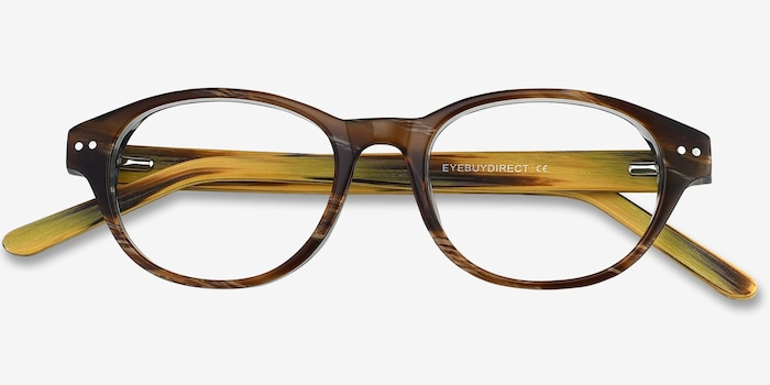 Cape Cod Brown Wood-texture Eyeglass Frames from EyeBuyDirect, Closed View