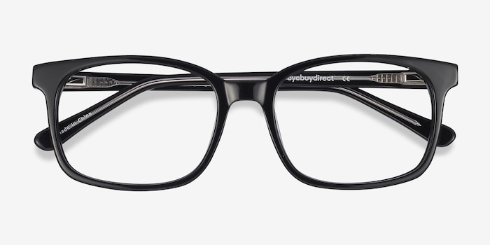 Claudia Black Acetate Eyeglass Frames from EyeBuyDirect, Closed View