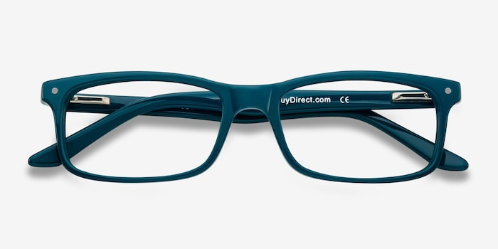 Mandi Teal Acetate Eyeglass Frames from EyeBuyDirect, Closed View