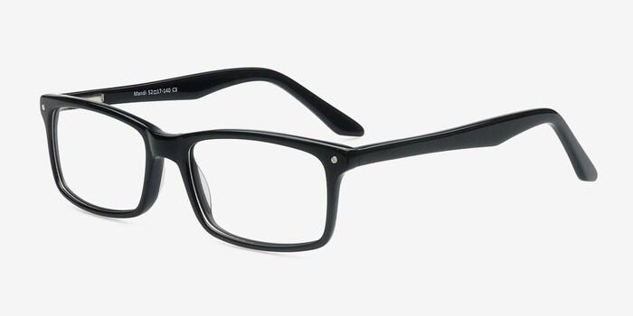 Mandi Black Acetate Eyeglass Frames from EyeBuyDirect, Angle View
