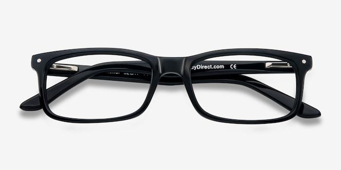 Mandi Black Acetate Eyeglass Frames from EyeBuyDirect, Closed View
