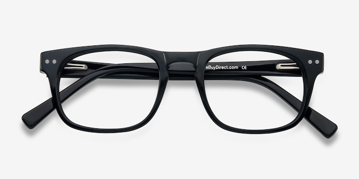 Carla Black Acetate Eyeglass Frames from EyeBuyDirect, Closed View