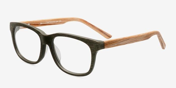 White Pine Olive Wood-texture Montures de Lunettes d'EyeBuyDirect, Vue d'Angle