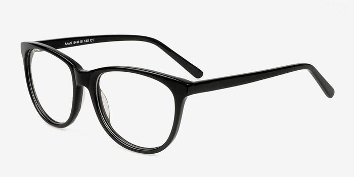 Anahi Black Acetate Eyeglass Frames from EyeBuyDirect, Angle View