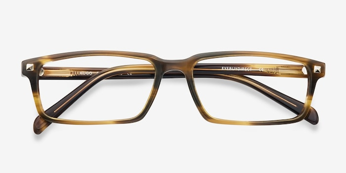 Hugo Brown Acetate Eyeglass Frames from EyeBuyDirect, Closed View