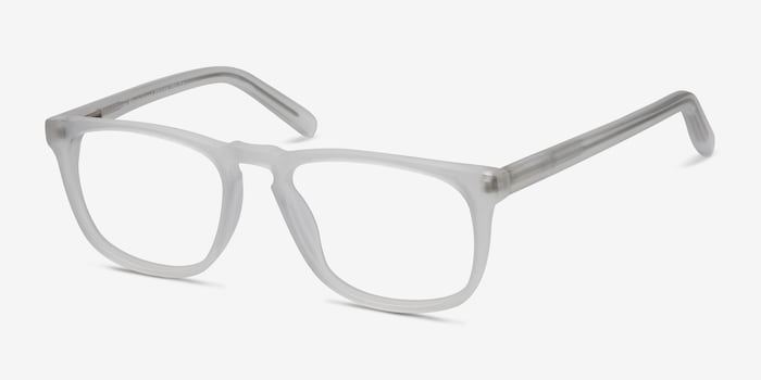 Rhode Island Matte Clear Acetate Eyeglass Frames from EyeBuyDirect, Angle View
