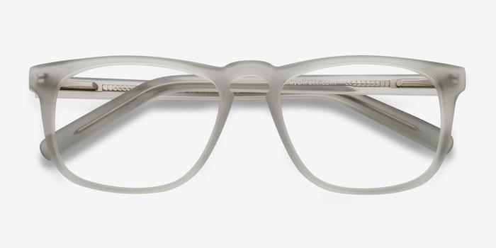 Rhode Island Matte Gray Acetate Eyeglass Frames from EyeBuyDirect, Closed View