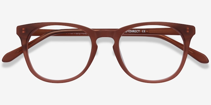 Providence Matte Brown Acetate Eyeglass Frames from EyeBuyDirect, Closed View