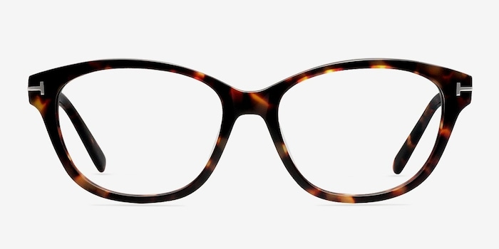 Mia Farrow Brown/Tortoise Acetate Eyeglass Frames from EyeBuyDirect, Front View