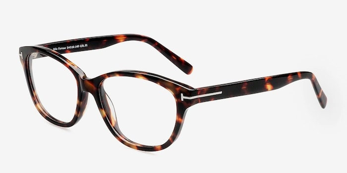 Mia Farrow Brown/Tortoise Acetate Eyeglass Frames from EyeBuyDirect, Angle View