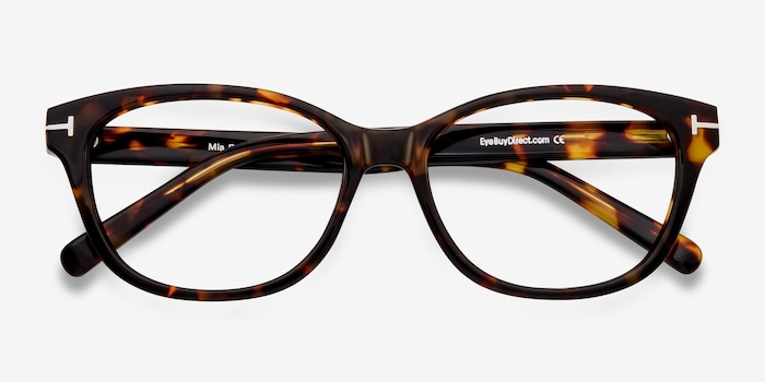 Mia Farrow Brown/Tortoise Acetate Eyeglass Frames from EyeBuyDirect, Closed View