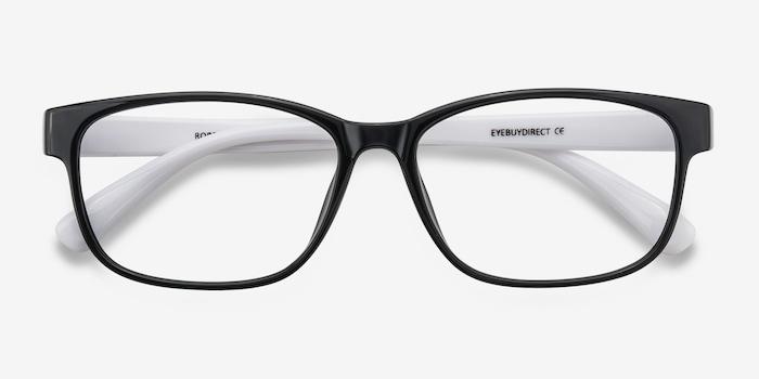 Robbie Black/White Plastic Eyeglass Frames from EyeBuyDirect, Closed View