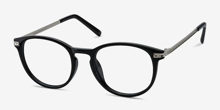 Daphne Black Plastic Eyeglass Frames from EyeBuyDirect, Angle View