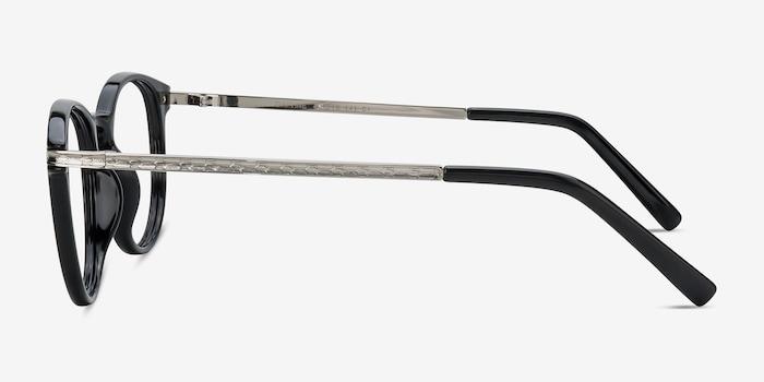 Daphne Black Plastic Eyeglass Frames from EyeBuyDirect, Side View