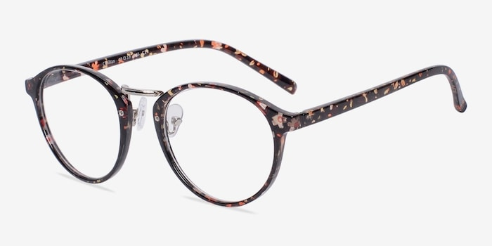 Chillax Red/Floral Metal Eyeglass Frames from EyeBuyDirect, Angle View