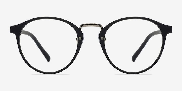 Chillax Matte Black/Silver Metal Eyeglass Frames from EyeBuyDirect, Front View