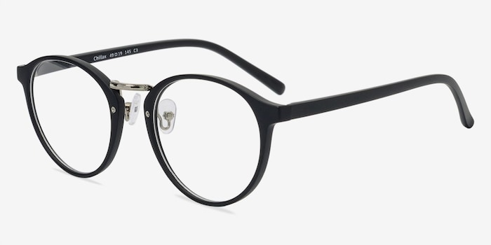 Chillax Matte Black/Silver Metal Eyeglass Frames from EyeBuyDirect, Angle View