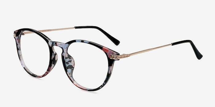 Muse Blue Floral Plastic Eyeglass Frames from EyeBuyDirect, Angle View