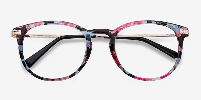 Muse Blue Floral Plastic Eyeglass Frames from EyeBuyDirect, Closed View