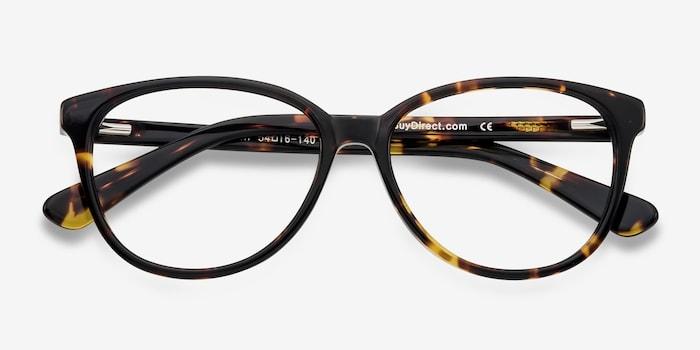 Hepburn Tortoise Acetate Eyeglass Frames from EyeBuyDirect, Closed View