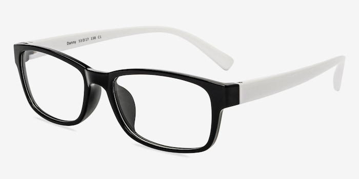 Danny  Black/White  Plastic Eyeglass Frames from EyeBuyDirect, Angle View