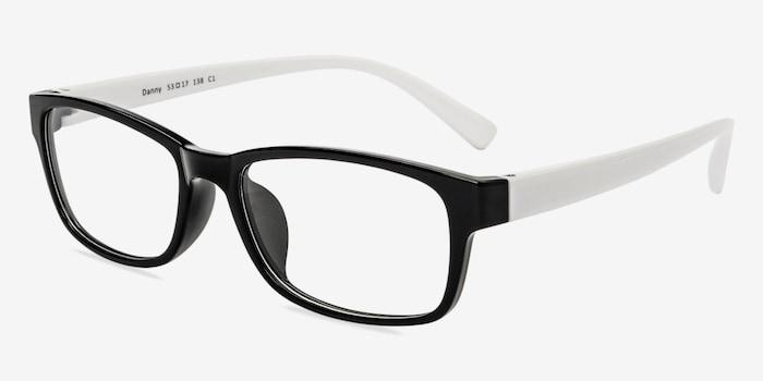 Danny  Black/White  Plastique Montures de Lunettes d'EyeBuyDirect, Vue d'Angle