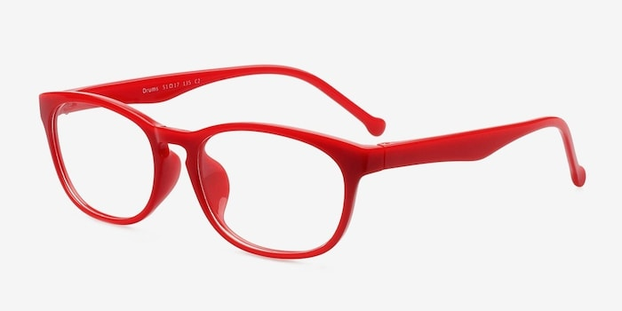 Drums  Red  Plastic Eyeglass Frames from EyeBuyDirect, Angle View