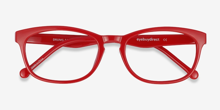 Drums  Red  Plastic Eyeglass Frames from EyeBuyDirect, Closed View