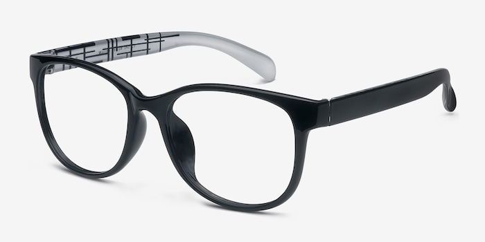 Warren  Black  Plastic Eyeglass Frames from EyeBuyDirect, Angle View