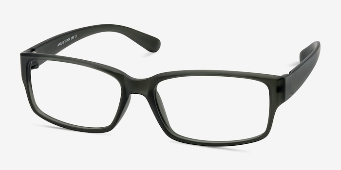 Apollo Matte Gray Plastic Eyeglass Frames from EyeBuyDirect, Angle View