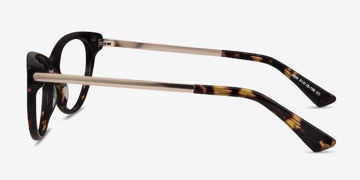 Her Tortoise Acetate Eyeglass Frames from EyeBuyDirect, Side View