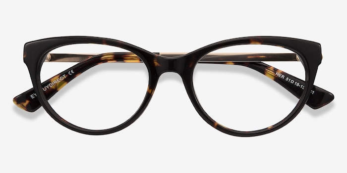Her Tortoise Acetate Eyeglass Frames from EyeBuyDirect, Closed View