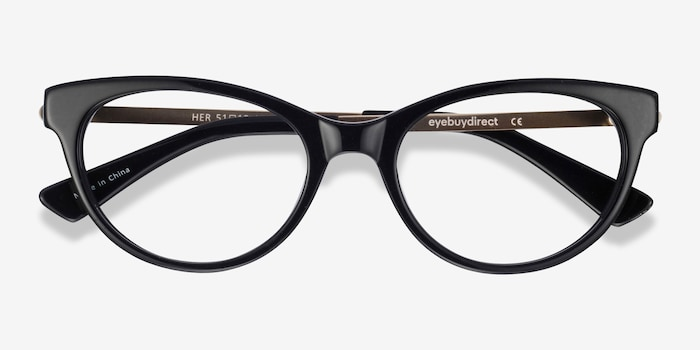 Her Black Acetate Eyeglass Frames from EyeBuyDirect, Closed View