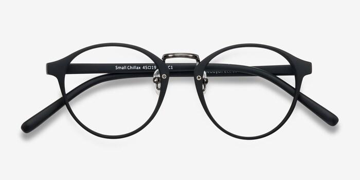 Small Chillax Matte Black/Gunmetal Plastic Eyeglass Frames from EyeBuyDirect, Closed View