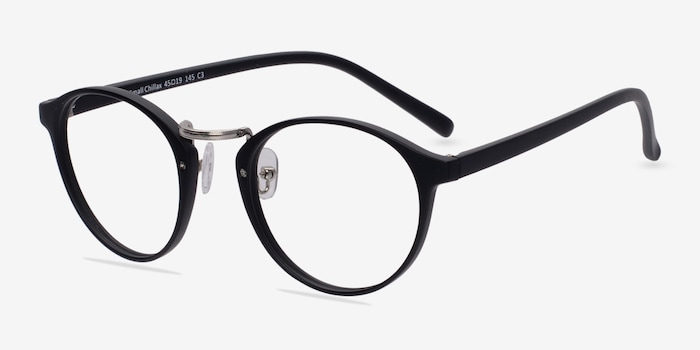 Small Chillax Matte Black/Silver Plastic Eyeglass Frames from EyeBuyDirect, Angle View